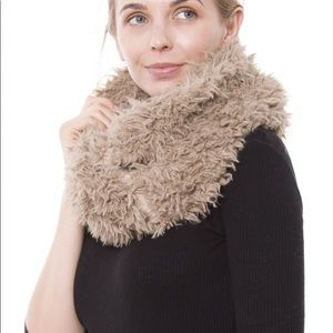 Fluffy brown pull over scarf